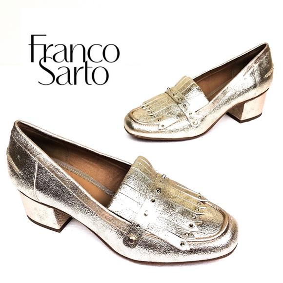 c8aff99fed1 Franco Sarto Shoes - Franco Sarto Gold Lauryn Fringe Block Heel Loafer